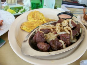 Carne Frita and Tostones (plantains)