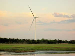 Wind Turbine at College of Marines Studies, Lewes.  Height 256 ft., Weight 203 tons, Blade Length 144 feet