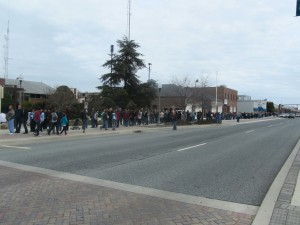 The line wrapped around the block on Rehoboth Ave.